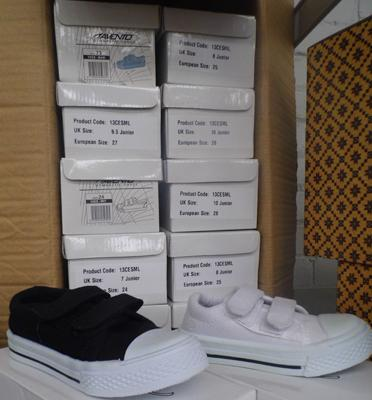 12 pairs of kids canvas pumps