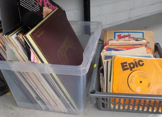 "Box of LP's and 7"" records"