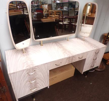 Retro mirrored dressing table by Berry furniture designs in melamine