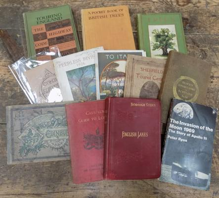 12x Collectable books inc 1969 1st edition moon landing & early travel books
