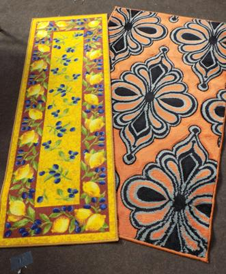 Lemon runner and orange/ black rug (90cm x 150cm)