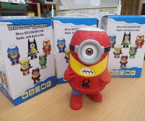 3 new Minion/ Marvel Bluetooth MP3 speakers with S-D slot - AM/FM radio - USB