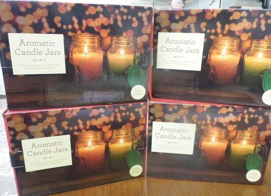 4 sets of 2 large aromatic jar candles - 75 hour burning time