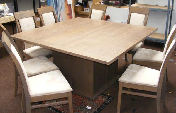 Solid oak table + 8 chairs