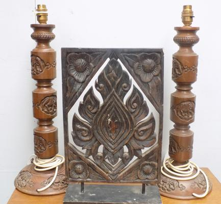 Pair of carved elephant lamp bases + wooden carved mantlepiece ornament
