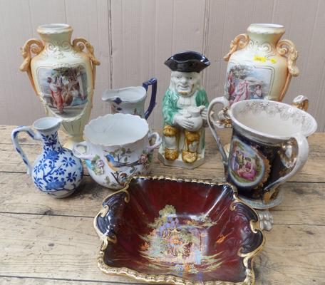 Mixed lot of ceramics, incl. pair of blush continental vases