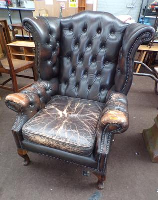 Chesterfield wing backed armchair (for restoration)