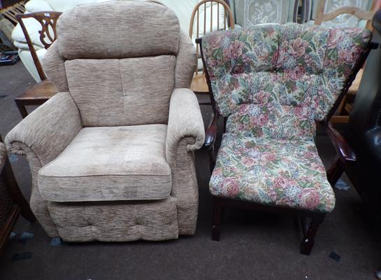 G Plan armchair + vintage wing backed armchair