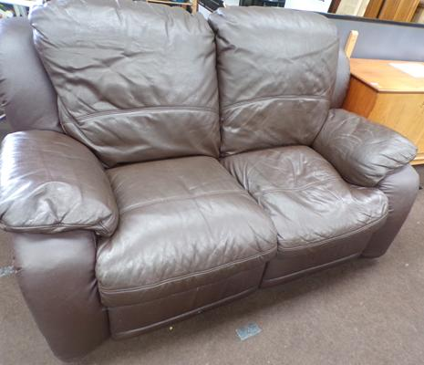 Brown leather sofa, reclining