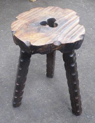 3 legged Irish hand carved stool