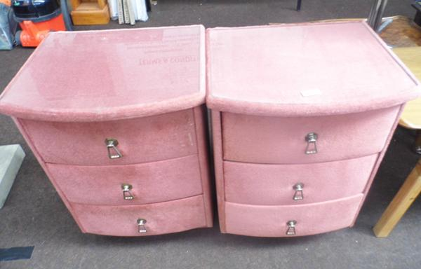 Pair of upholstered bedside drawers