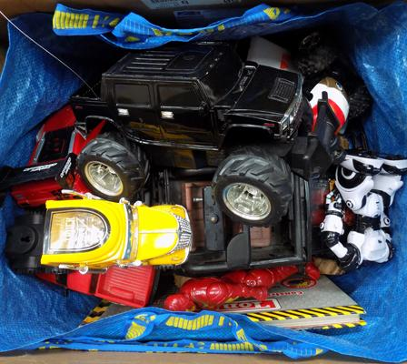 Box of mixed toys inc remote control cars
