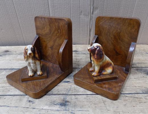 Pair of wooden book ends