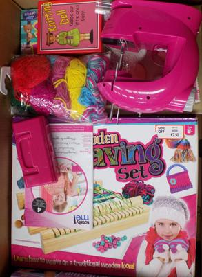Box of children's sewing/knitting items