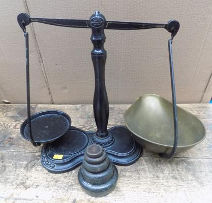 Antique Salter scales-unusual design-with weights