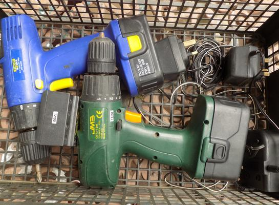 2 cordless drills - both same incl. batteries and chargers