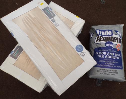 Floor tiles and adhesive - 4 packs