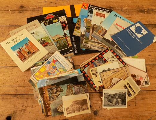 Assortment of vintage postcards, postcard books and tourist brochures