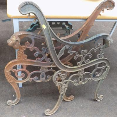 Pair of cast bench ends