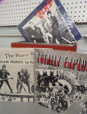 Box of Punk & New Wave records, incl. Clash, Pistols, Exploited, Damned, Jam etc...