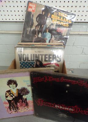 Box of records incl. Beatles, Stones, Grateful Dead, Jefferson Airplane and Donovan box set