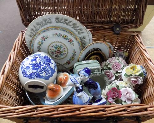 Wicker basket filled with mixed ceramics, incl. Wedgwood & Masons