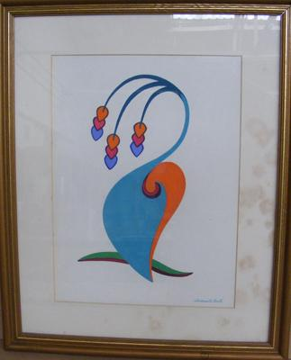 Gilt framed watercolour on board, signed RSA artist Wadsworth Smith 'Lavendar Blue'  - 22 inches x 16 inches