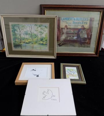 5x Framed prints inc Picasso & Cooper