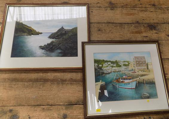 2x Original watercolours of Cornwall by Fred Holmes