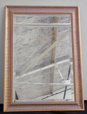 Large mirror with ornate gold frame, approx. 30 x 42 inches