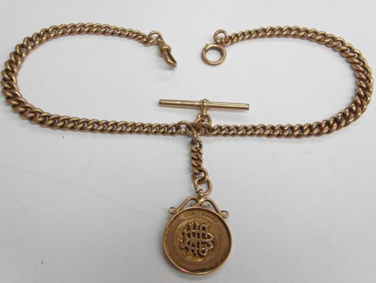 9ct rose gold double Albert chain & fob