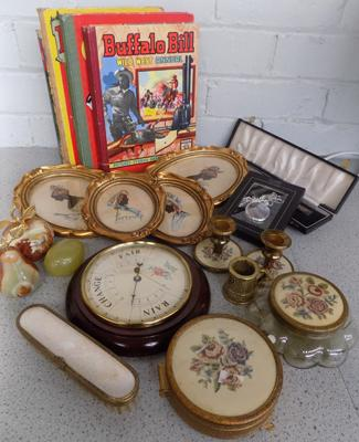 Box of mixed collectables, incl. carriage clock, limited edition print & playing cards