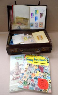 Collection of stamps and albums in vintage case
