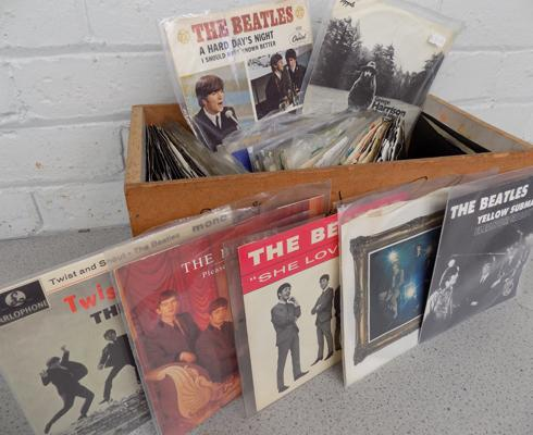 Box of collectable Beatles singles - some in rare picture scenes - over 75