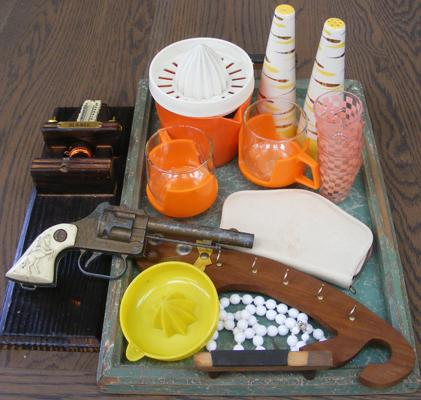 Selection of retro items on a vintage tray