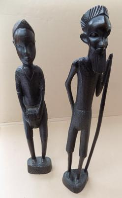Wooden carved African figurines x 2
