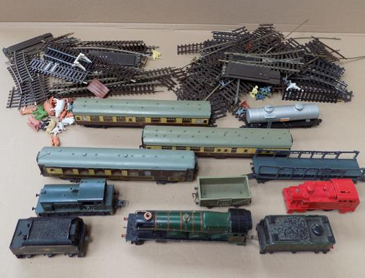 Selection of carriages and track + train engine