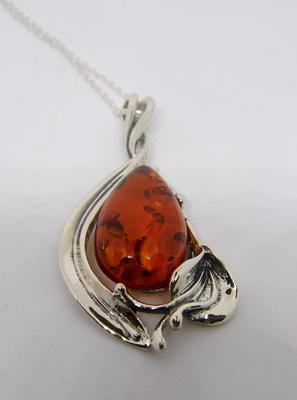 Silver + amber pendant on silver chain