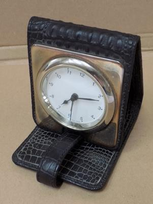 Sterling silver travel alarm clock with skin case