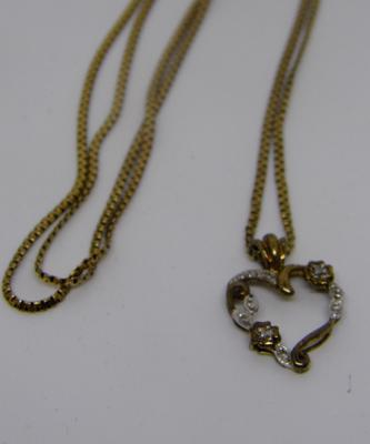 "9ct gold 24"" chain with 9ct gold and diamond heart shaped pendant"