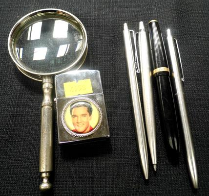 Mixed collectables , incl. Parker pen with gold nib & Magnifying glass