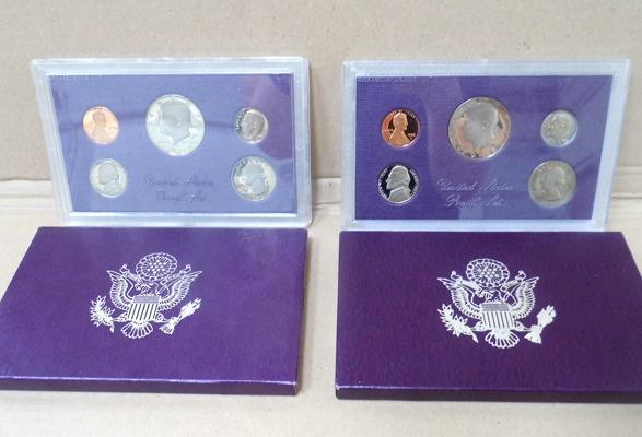 USA proof coin sets 1986 and 1987