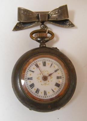 Antique fob French enamel faced pocket watch, with solid silver bow brooch (hallmarked)