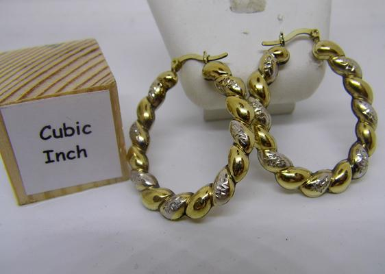 9ct gold large creole earrings - 30mm x 40mm