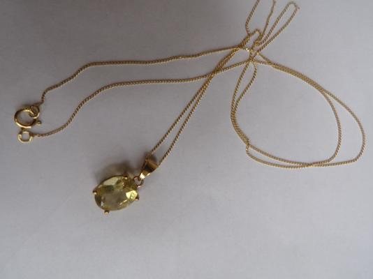 9ct gold chain with citrine pendant