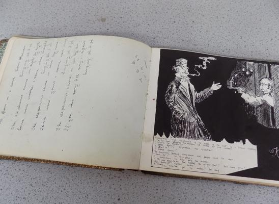 Vintage artist sketch book with notes and signatures C1920's