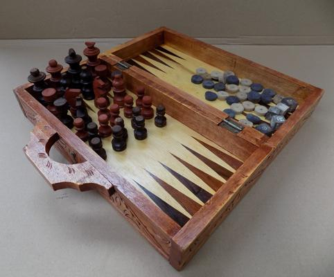 Inlaid wooden chess & backgammon set