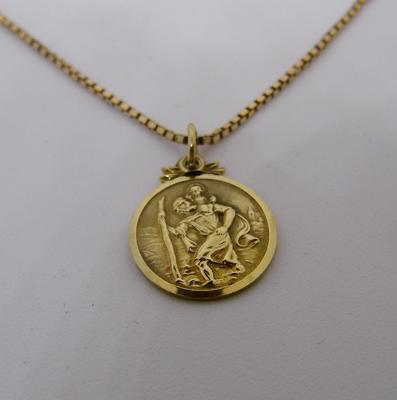 "9ct gold 20 1/2"" chain with 9ct St. Christopher pendant"