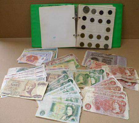 Album of coins and world banknotes