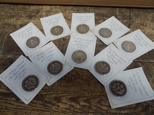 Collection of 10 of 'The Queen Mother's 90th Birthday' collector's £5 coins - by Royal Mint, still sealed on card